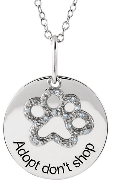 Chic Sterling Silver Medallion Pendant With .06 ct tw Diamond Studded Paw -