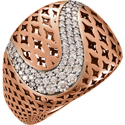 Chunky Funky 2ct Large Pierced Statement Ring With a Curved Stream of .8-2.7mm Diamonds - 65 Diamonds
