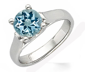 Chunky & Funky Fine GEM  Blue 1 carat 6.5mm Aquamarine Solitaire Gemstone Ring With Chunky 14k Gold Band
