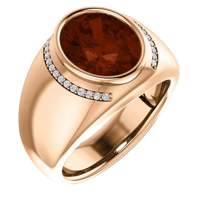 Contemporary 14 Karat Rose Gold Mozambique Garnet & 0.12 Carat Total Weight Diamond Ring