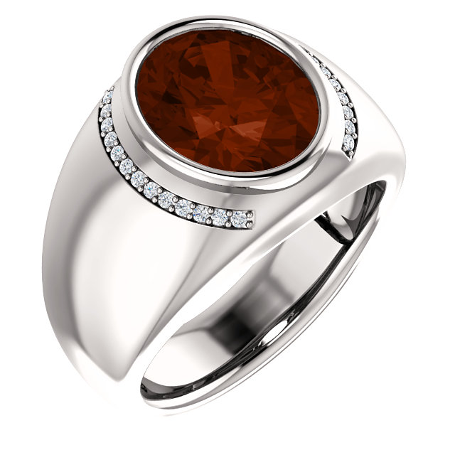 Perfect Gift Idea in 14 Karat White Gold Mozambique Garnet & 0.12 Carat Total Weight Diamond Ring