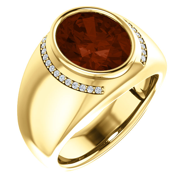 Contemporary 14 Karat Yellow Gold Mozambique Garnet & 0.12 Carat Total Weight Diamond Ring