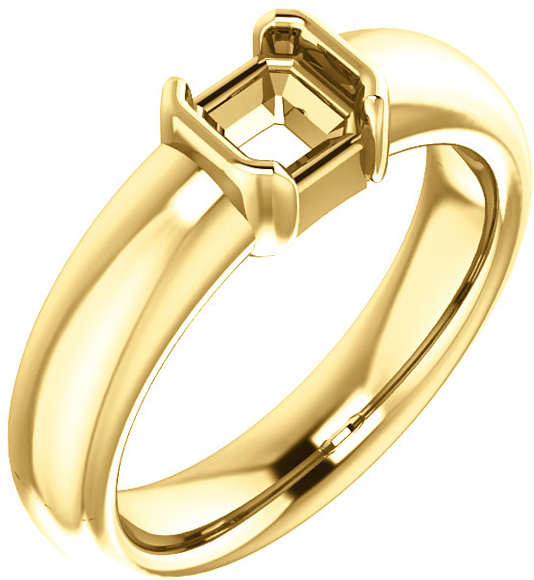 Chunky Half Bezel Set Solitaire Ring Mounting for Asscher Shape Centergem Sized 5.00 mm to 7.00 mm - Customize Metal, Accents or Gem Type