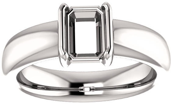 Chunky Half Bezel Set Solitaire Ring Mounting for Emerald Shape Centergem Sized 5.00 x 3.00 mm to 9.00 x 7.00 mm - Customize Metal, Accents or Gem Type