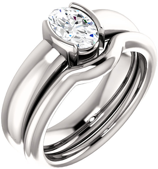 Chunky Half Bezel Set Solitaire Ring Mounting for Oval Shape Centergem Sized 6.00 x 4.00 mm to 9.00 x 7.00 mm - Customize Metal, Accents or Gem Type