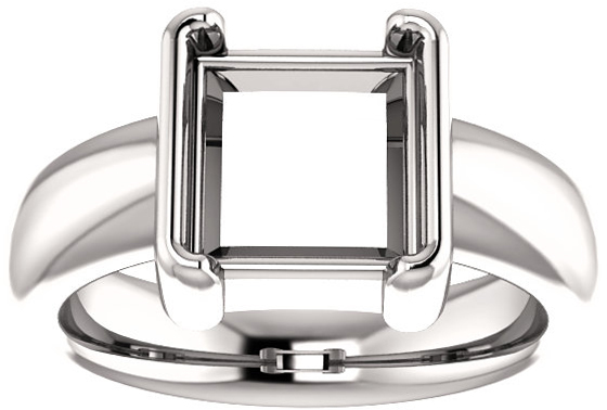 Chunky Half Bezel Set Solitaire Ring Mounting for Square Shape Centergem Sized 4.00 mm to 8.00 mm - Customize Metal, Accents or Gem Type