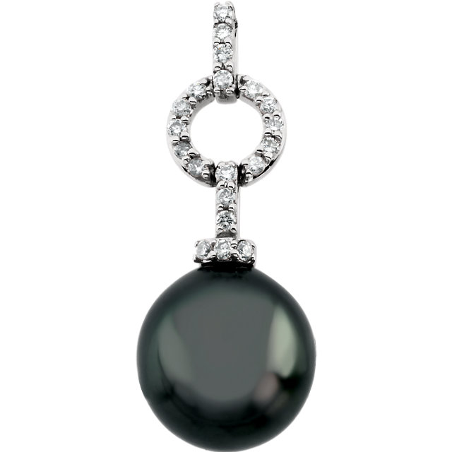 14 KT White Gold Tahitian Cultured Pearl & 0.20 Carat TW Diamond Pendant
