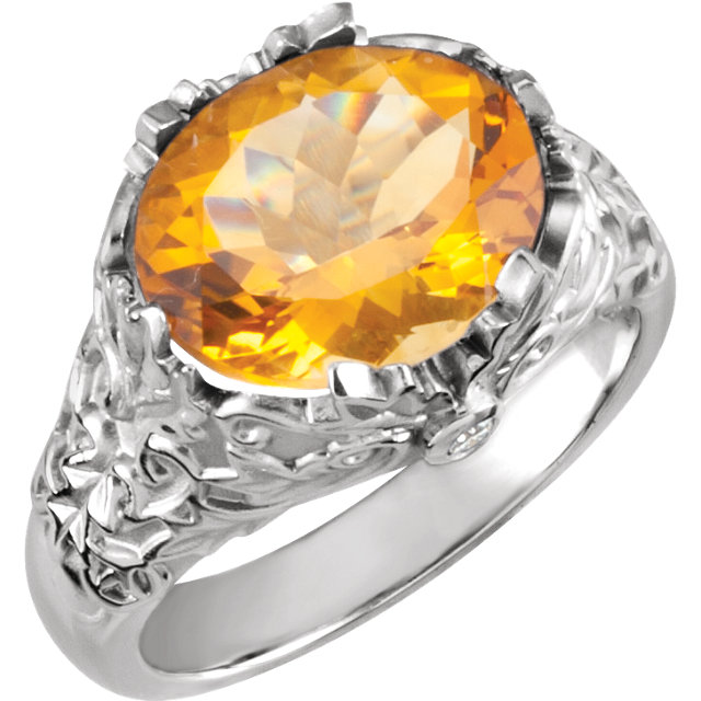 Citrine & Diamond Accented Leaf Design Ring