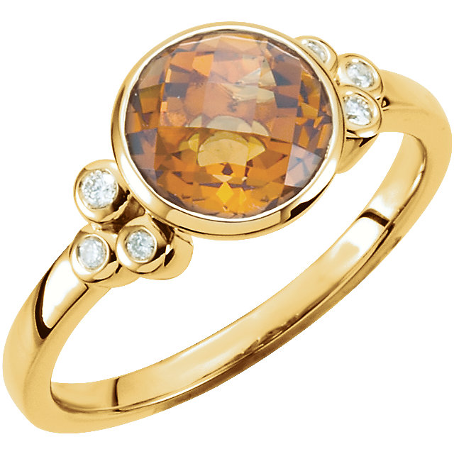 Buy Real Citrine & Diamond Accented Ring