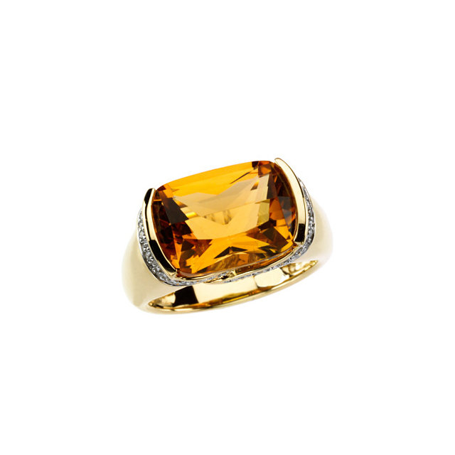 Great Deal in Citrine & Diamond Accented Ring