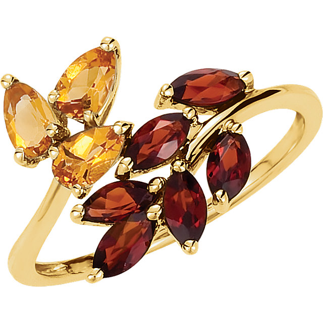 Wonderful Citrine & Mozambique Garnet Leaf Design Bypass Ring