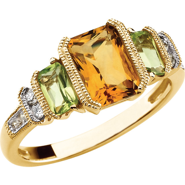 Citrine, Peridot & Diamond Accented Granulated Design Ring