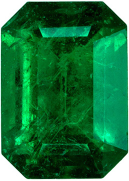Beautiful Green Emerald Gemstone, 0.85 carats in Emerald Cut, Fine Grass Green Color in  6.8 x 4.9 mm Size