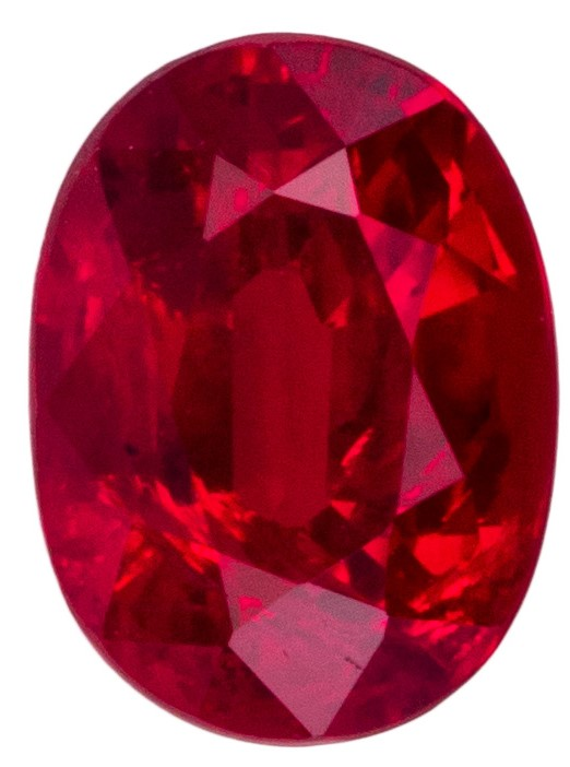 Classic Red Stone 1.1 carat Ruby Oval shaped gemstone, 6.7 x 5.0 mm