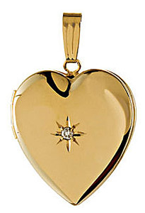 Classic 14k Yellow Gold Heart Shaped Locket with Inset .02ct Diamond Accent - Two Picture Spots Inside - FREE Chain Included