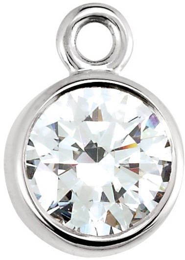 Classic 14kt Gold Micro Bezel Dangle With Round Diamond Sized 1.50 mm - 4.00 mm - Metal Type Options