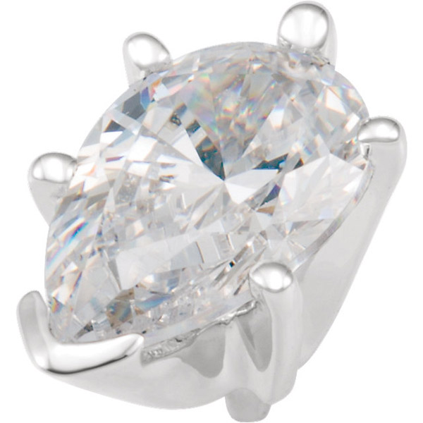 Classic 14kt White Gold 6Prong VEnd Peg Jewelry Finding for Pear Gemstone Size 5 x 3mm to 10 x 7mm