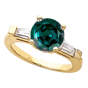 Classic 3 Stone 5.20 mm Alexandrite Ring set with 100% Color Change Genuine 0.70 ct Alexandrite Engagement Ring With Diamond Baguette Side Gems