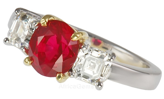 Classic 3 Stone Ring of Assher Diamonds & Stunning Gem 2 carat plus Burma Ruby  - SOLD