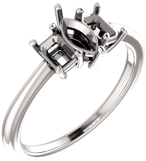 Classic 3-Stone Ring With Emerald Cut Side Gems - For Marquise Center Gem Sized 7.00 x 3.50 mm to 12.00 x 6.00 mm - Customize Metal, Accents or Gem Type