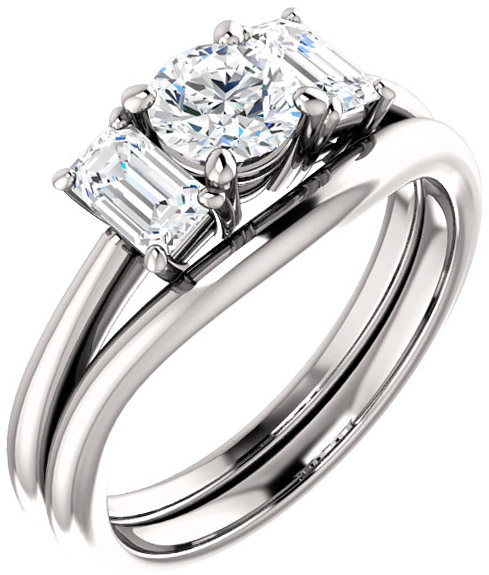 Classic 3-Stone Ring With Emerald Cut Side Gems - For Round Center Gem Sized 5.20 mm to 10.00 mm - Customize Metal, Accents or Gem Type