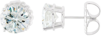 Classic and Beautiful -.5ct 4mm-12mm Round Created Moissanite Basket Style Stud Earrings- Metal Type and Stone Size Options