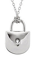 Classic and Gorgeous Lock Shape Sterling Silver Pendant With a 1/10ct Diamond Encrusted Heart Surrounding the Keyhole - FREE Chain Included With Pendant