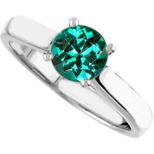 Classic Beauty! - 4-Prong Round Solitaire Genuine Blue Green Tourmaline Engagement Ring - Diamond Accents at Base of Prongs - SOLD