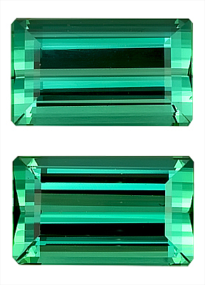 Classic Blue-Green Tourmaline Genuine Gemstone Pair for SALE - Perfect Make, Rectangle Cut, 10 x 6 mm, 5.2 carats