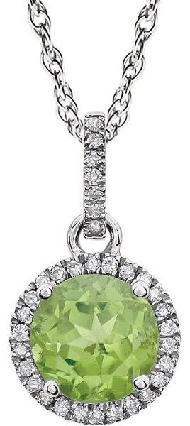 Classic & Chic Peridot Halo1.4ct 7mm August Birthstone Pendant in 14k White Gold - 7mm Round Centergem - FREE Chain