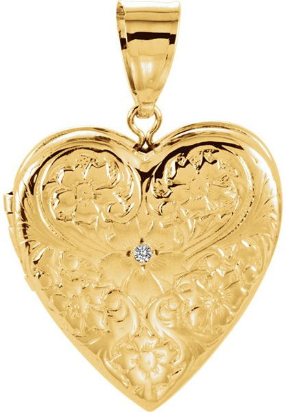 Classic Floral Engraved 14k Yellow Gold Heart Locket Pendant - Single .01ct Diamond Accent in the Center - FREE Chain