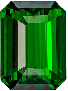Classic Top Gem in Green Garnet Tsavorite in Emerald Cut, 3.31 carats, 10.1 x 7.4 mm