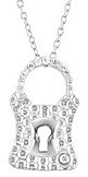 Classic Lock Shape Sterling Silver .08ct Diamond Encrusted Pendant - 12 Sparkling Diamonds - FREE Chain Included With Pendant - SOLD