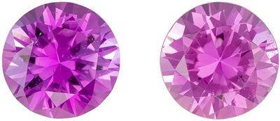 Classic Matched Gems in  Pink Sapphire Round Cut, 1.1 carats, 4.9 mm Perfect Accents