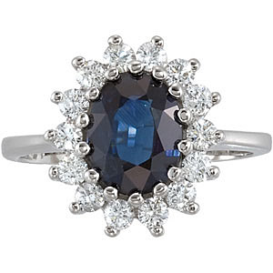 Classic Princess Di Like 2 carat 9x7mm Blue Sapphire Ring with Fine Round Diamond Accents Set in 14 karat White Gold