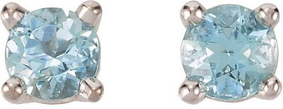 Classic .2ct 3mm Round AA Grade Aquamarine Gemstone Stud March Birthstone Earrings for SALE - 14k White or Yellow Gold