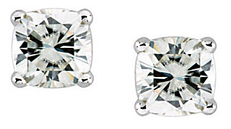 Classic Solitaire Round Moissanite Stud Earrings With 4-Prong Basket Mounting - Metal Type and Gem Size Options