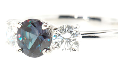 Classic Style Genuine .75 carat Dramatic Color Change Real Alexandrite & 0.40 ct Diamond Ring in Platinum