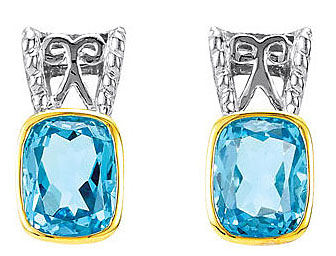 Classic Swiss Blue Topaz Post Back Earrings in Sterling Silver and 14k Yellow Gold - Unique Sterling Silver Detailing - SOLD