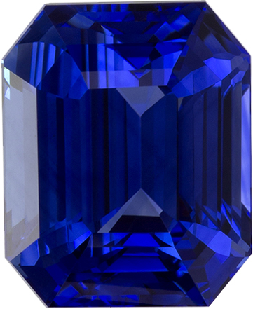 Classic Vivid Blue Sapphire Ceylon Gem in Emerald Cut, 8.5 x 7 mm, 3.22 carats