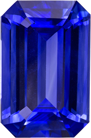 Classic Vivid Rich Blue Sapphire Ring Stone Gem in Emerald Cut, 9.6 x 6.3 mm, 2.37 carats