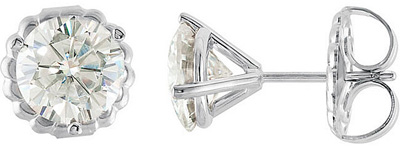 Classically Beautiful Martini-Style 3-Prong Stud Earrings With Round Moissanite Created Gems - Metal Type and Stone Size Options