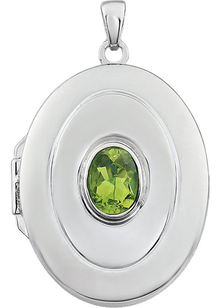 Classy .9ct 7x5mm Oval Shape August  Birthstone Sterling Silver Locket - Bezel Set Peridot - FREE Chain