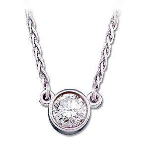 Classy and Elegant 1/4 ct 14k White Gold 4mm Diamond Solitaire Necklace