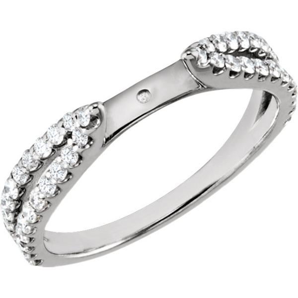 Classy Chic Split Shank Semi Set Mounting Without Head With 0.46ctw Diamond Accents in 14kt White Gold