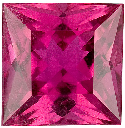 Classy, Clean, Top Color Reddish Pink Rubelite Tourmaline Brazilian Gem, Princess Cut, 2.42 carats