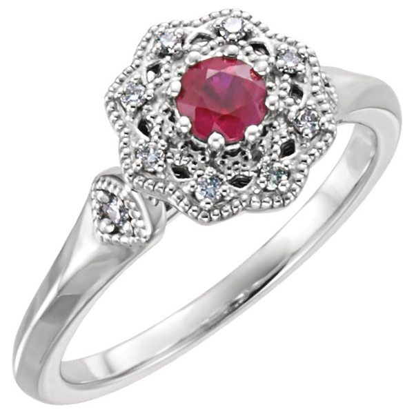 Classy Milgrain Detail 0.35ct Ruby Ring in 14 KT Gold With Diamond Accents - Metal Type Options