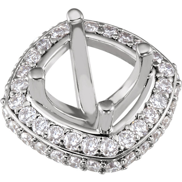 Classy Pre-Set Halo Accented Peg Jewelry Finding for Round Gemstone Size 5.25mm - 6.50mm - Customize Metal Type