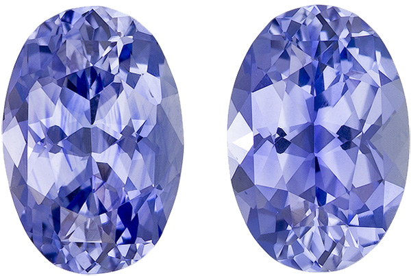 Clean Bright Cornflower Blue Sapphires Well Matched Pair in Oval Cut, 9.2 x 6.5 mm, 4.26 carats