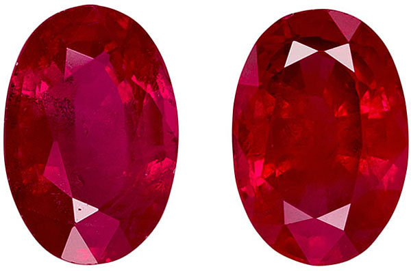 Clean & Bright Ruby Well Matched Pair in Oval Cut, Rich Red, 6 x 4 mm, 1.33 carats